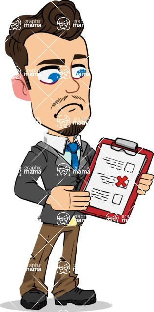 Simple Style Cartoon of a Businessman with Goatee - Holding a notepad