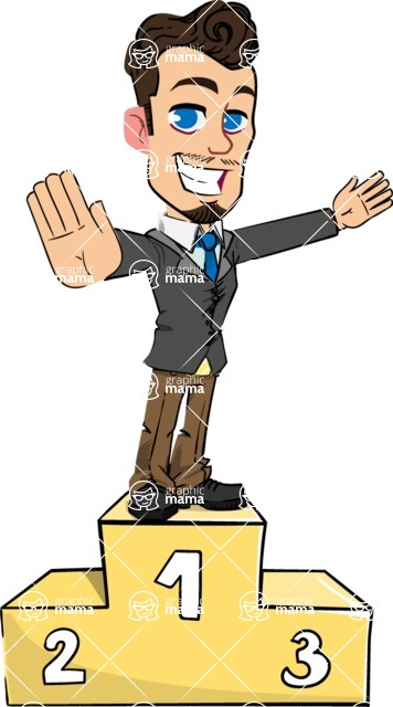 Simple Style Cartoon of a Businessman with Goatee - with Success on Top