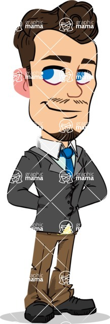Simple Style Cartoon of a Businessman with Goatee - Waiting with hands behind back