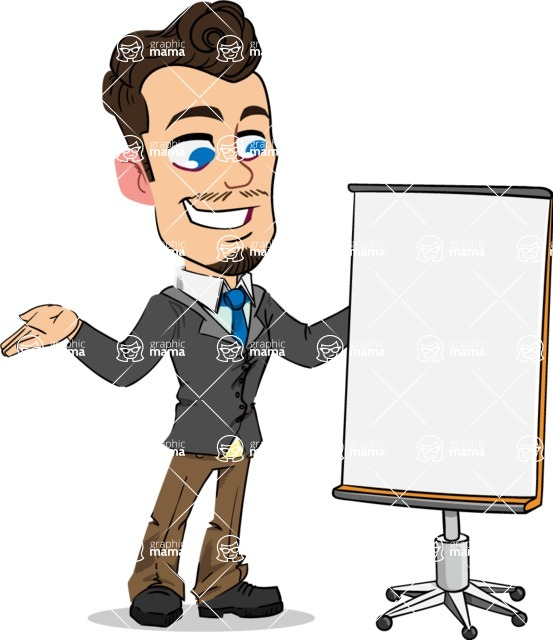 Simple Style Cartoon of a Businessman with Goatee - with a Blank Presentation board