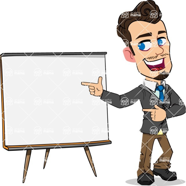 Simple Style Cartoon of a Businessman with Goatee - Pointing on a Blank whiteboard