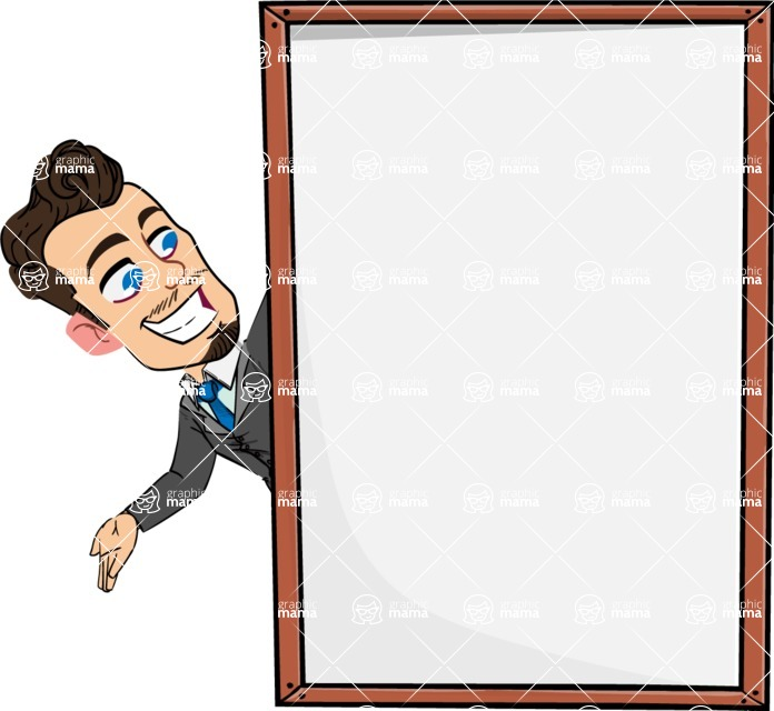 Simple Style Cartoon of a Businessman with Goatee - Making peace sign with Big Presentation board