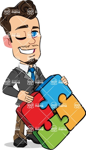 Simple Style Cartoon of a Businessman with Goatee - with Puzzle