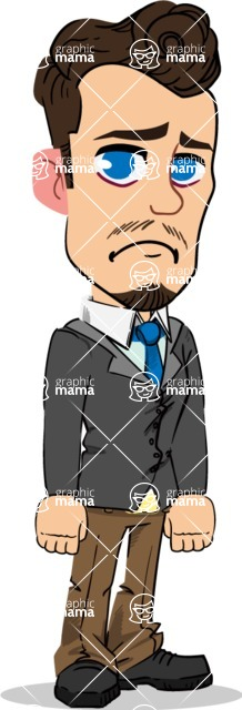 Simple Style Cartoon of a Businessman with Goatee - with Sad face