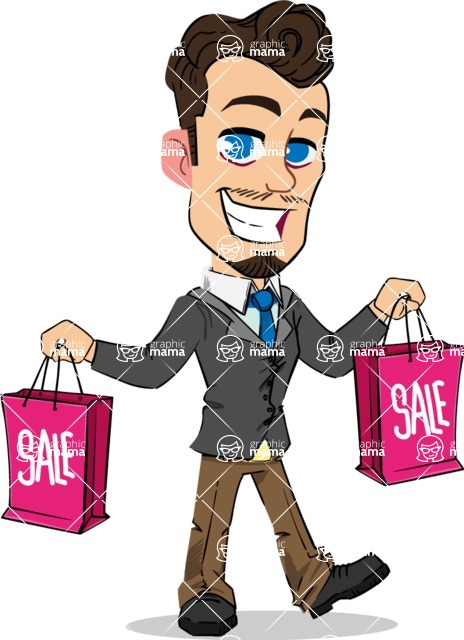 Simple Style Cartoon of a Businessman with Goatee - Holding shopping bags