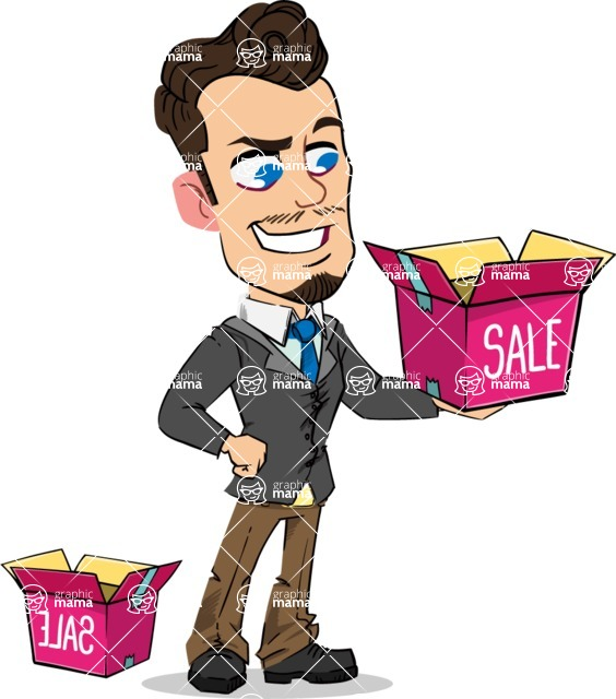 Simple Style Cartoon of a Businessman with Goatee - with Sale boxes