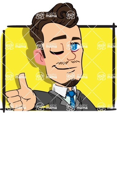 Simple Style Cartoon of a Businessman with Goatee - Shape 1