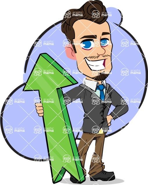 Simple Style Cartoon of a Businessman with Goatee - Shape 10