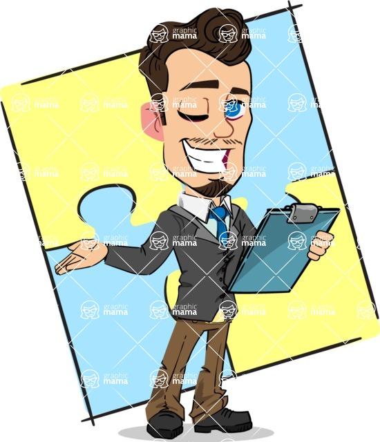 Simple Style Cartoon of a Businessman with Goatee - Shape 12