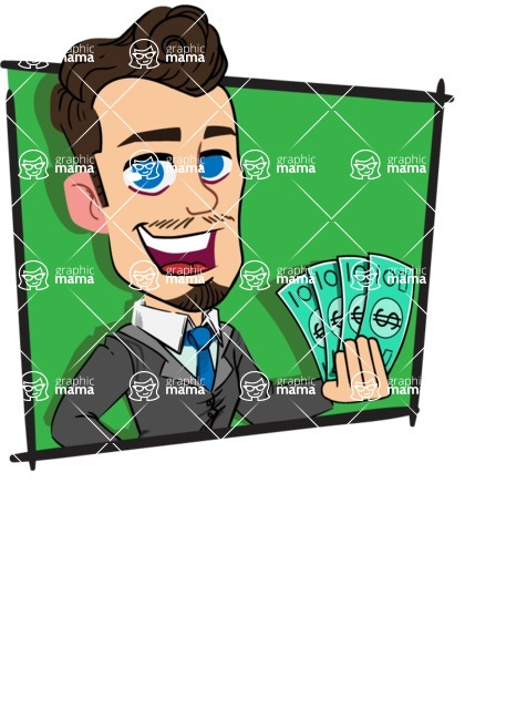 Simple Style Cartoon of a Businessman with Goatee - Shape 3