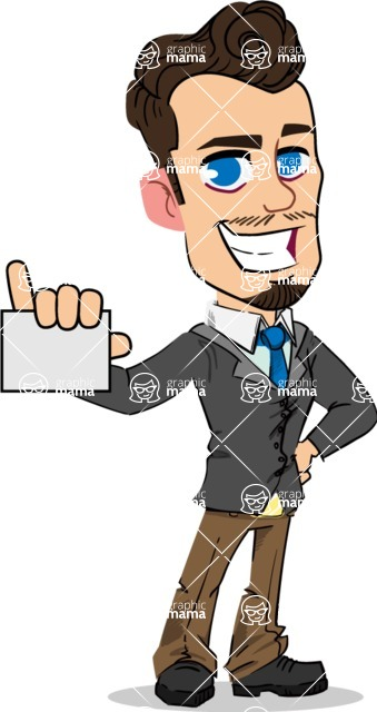 Simple Style Cartoon of a Businessman with Goatee - with a Blank Business card