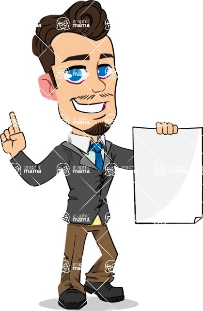 Simple Style Cartoon of a Businessman with Goatee - with a Blank paper