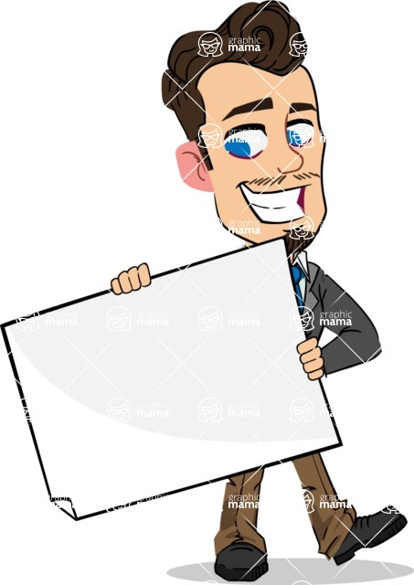 Simple Style Cartoon of a Businessman with Goatee - Holding a Blank banner