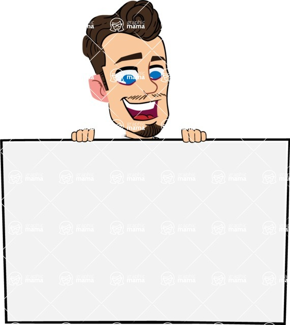 Simple Style Cartoon of a Businessman with Goatee - with a Blank Presentation sign