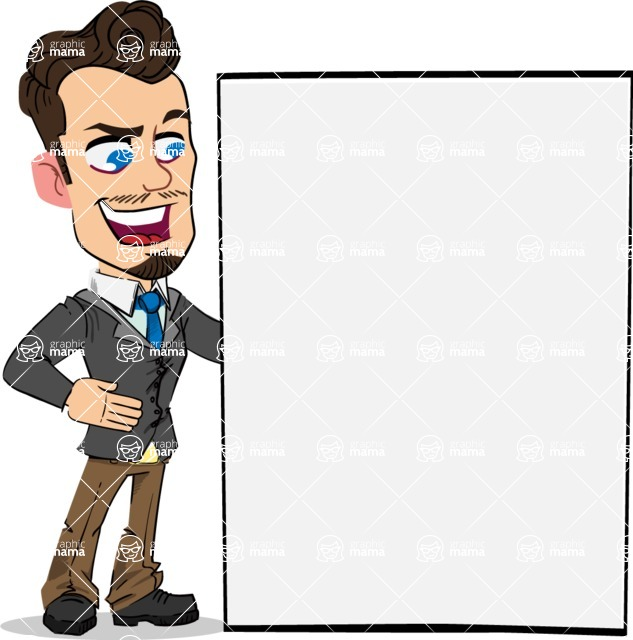 Simple Style Cartoon of a Businessman with Goatee - Showing Big Blank banner