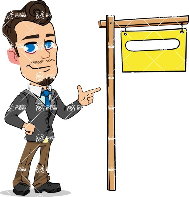 Simple Style Cartoon of a Businessman with Goatee - with Blank Real estate sign