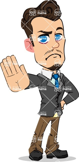 Simple Style Cartoon of a Businessman with Goatee - Making stop gesture with both hands