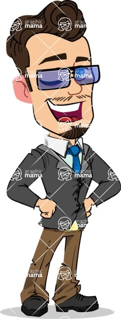 Simple Style Cartoon of a Businessman with Goatee - with Sunglasses