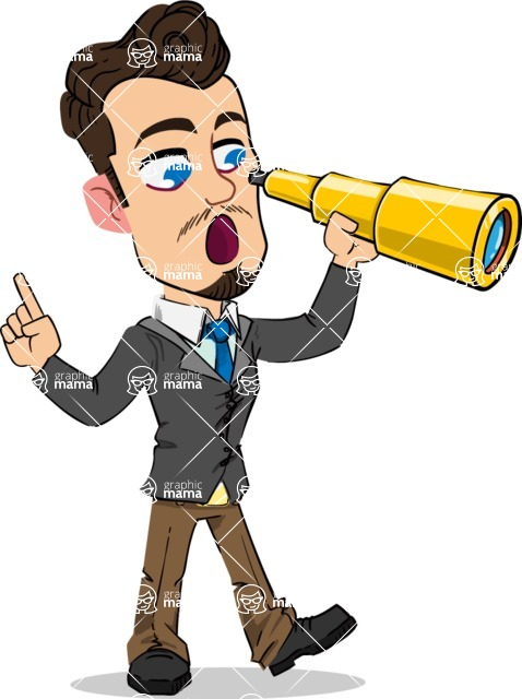 Simple Style Cartoon of a Businessman with Goatee - Looking through telescope