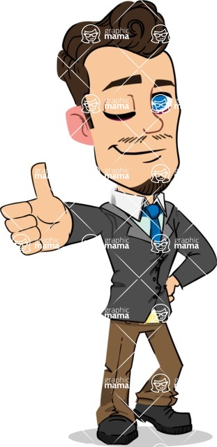 Simple Style Cartoon of a Businessman with Goatee - Making Thumbs Up