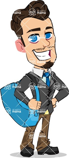 Simple Style Cartoon of a Businessman with Goatee - Traveling