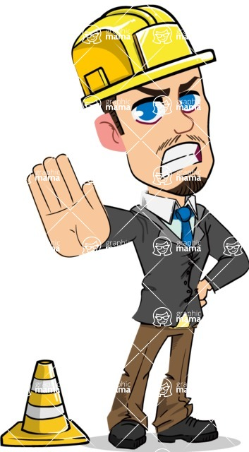 Simple Style Cartoon of a Businessman with Goatee - as a Construction worker
