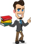 Simple Style Cartoon of a Businessman with Goatee - with Books