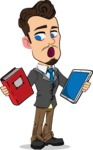 Simple Style Cartoon of a Businessman with Goatee - Choosing between Book and Tablet