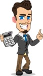 Simple Style Cartoon of a Businessman with Goatee - with Calculator