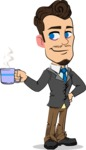 Simple Style Cartoon of a Businessman with Goatee - Drinking Coffee