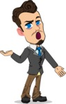Simple Style Cartoon of a Businessman with Goatee - Feeling Confused