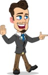 Simple Style Cartoon of a Businessman with Goatee - Pointing with a fnger