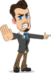 Simple Style Cartoon of a Businessman with Goatee - Finger pointing with angry face