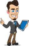 Simple Style Cartoon of a Businessman with Goatee - Holding an iPad