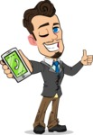 Simple Style Cartoon of a Businessman with Goatee - Holding a smartphone
