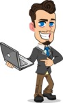 Simple Style Cartoon of a Businessman with Goatee - Holding a laptop