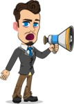 Simple Style Cartoon of a Businessman with Goatee - Holding a Loudspeaker