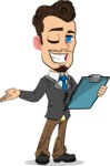 Simple Style Cartoon of a Businessman with Goatee - Making thumbs up with notepad
