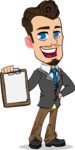 Simple Style Cartoon of a Businessman with Goatee - Smiling and holding notepad