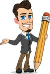 Simple Style Cartoon of a Businessman with Goatee - Holding Pencil