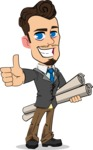 Simple Style Cartoon of a Businessman with Goatee - Holding Plans