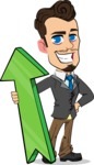 Simple Style Cartoon of a Businessman with Goatee - with Up arrow