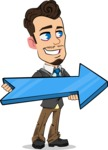 Simple Style Cartoon of a Businessman with Goatee - with Positive arrow