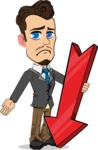 Simple Style Cartoon of a Businessman with Goatee - with Arrow going Down
