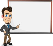 Simple Style Cartoon of a Businessman with Goatee - Making a Presentation on a Blank white board