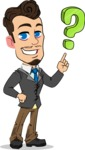 Simple Style Cartoon of a Businessman with Goatee - with Question mark