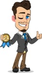 Simple Style Cartoon of a Businessman with Goatee - Winning prize