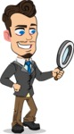Simple Style Cartoon of a Businessman with Goatee - Searching with magnifying glass