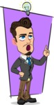 Simple Style Cartoon of a Businessman with Goatee - Shape 11