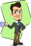 Simple Style Cartoon of a Businessman with Goatee - Shape 5